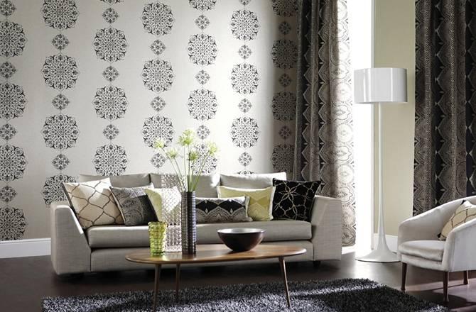 Salon avec motif et texture
