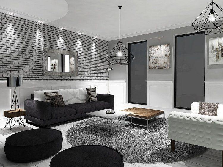 Salon moderne noir et blanc